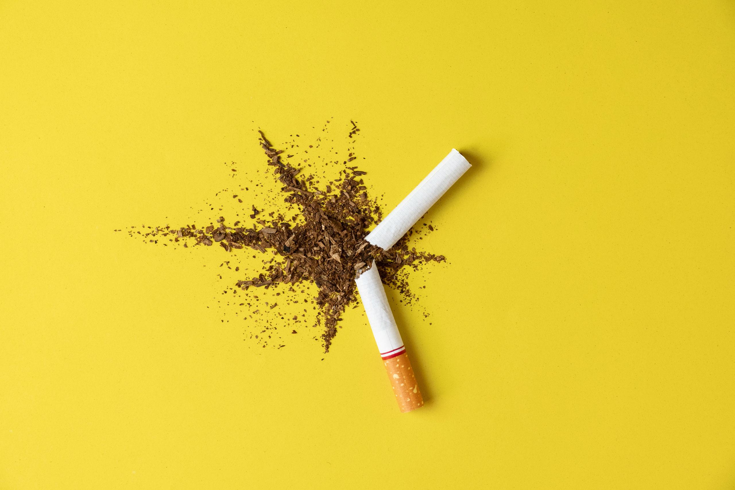 Przełamany papieros z wysypanym tytoniem