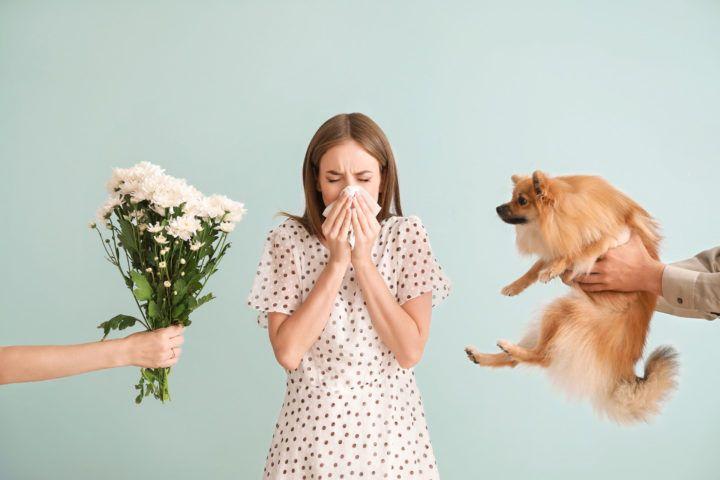 Ludzie podają kobiecie cierpiącej na alergię kwiaty i psa